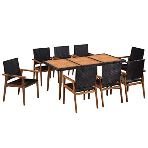 vidaXL Gartenmöbel 9-TLG. Poly Rattan Gartengarnitur Sitzgruppe Gartenset