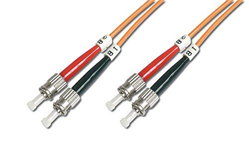 DIGITUS LWL Patch-Kabel OM2 - 1 m ST auf ST Glasfaser-Kabel - LSZH - Duplex Multimode 50/125µ - 10 GBit/s - Orange