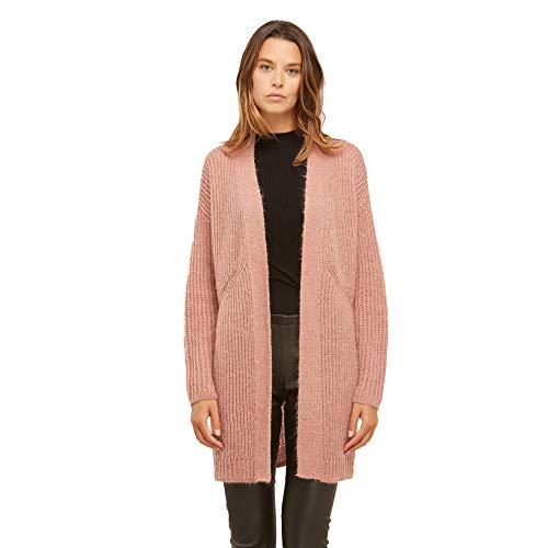 Brunella Gori Cardigan Lungo Aperto in Mohair Senza Chiusura Color Rosa Taglia S