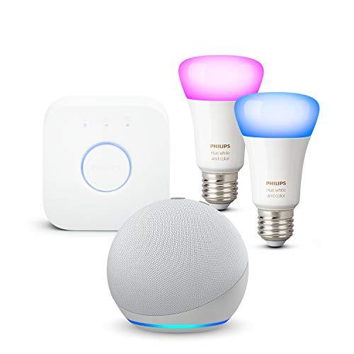 Nouvel Echo Dot (4e génération), Blanc + Philips Hue Kit de démarrage 2 Ampoules Color (E27), Fonctionne avec Alexa