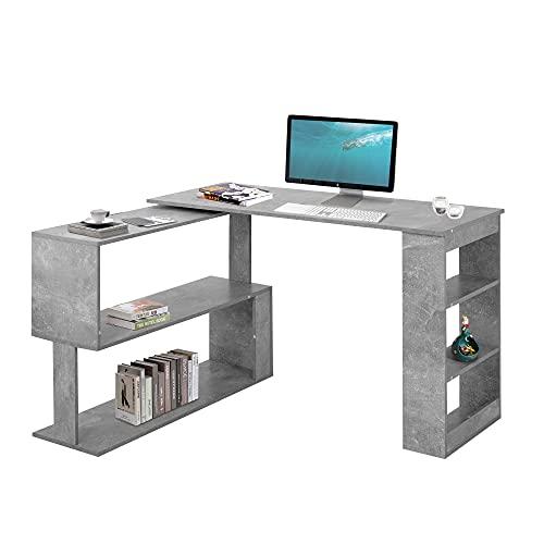 QWEPOI Escritorio de esquina para ordenador, mesa de oficina, mesa de juegos, mesa de 360 grados, viene con 5 estantes, estantes abiertos para almacenamiento, gris, 120 x 74 x 50/110 cm, elegante