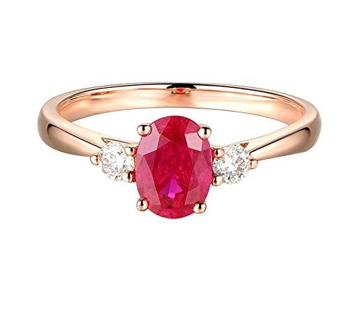 AueDsa Anillo de Mujer Oro Rosa y Rojo Anillo de Compromiso Oro Rosa 18K Mujer Oval Rubí Rojo 1.11ct y Diamante 0.15ct Talla 22