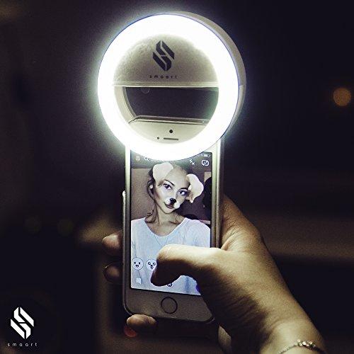 SMAART® Selfie Ring-Licht für alle Handys | 2019 Version | 36 LED Light Lampen für Licht-Kreis-Effekt in den Pupillen | weißes Licht wie von Stylisten | 3 Helligkeitsstufen