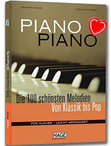Piano Piano 1-Les 100plus belles Mélodies de classique à Pop Pour Piano livre-Jeu à tout Piano organisés école-Léger-avec cœur Note colorée Pince