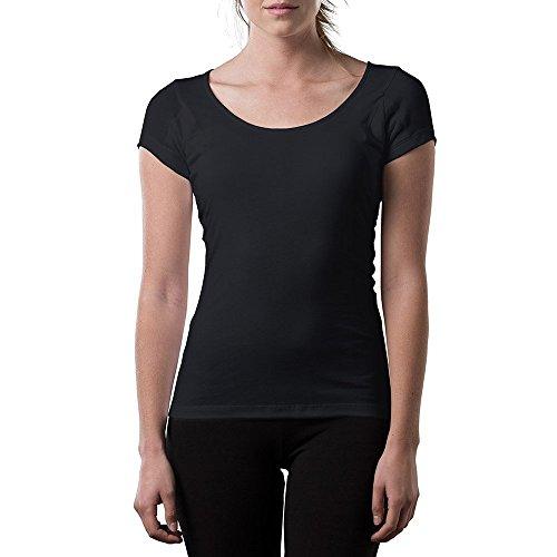 Camisas Thompson Tee a prueba de sudor para mujer, con almohadillas antimicrobianas para sudoración, ajuste original, escote redondo., M, Negro
