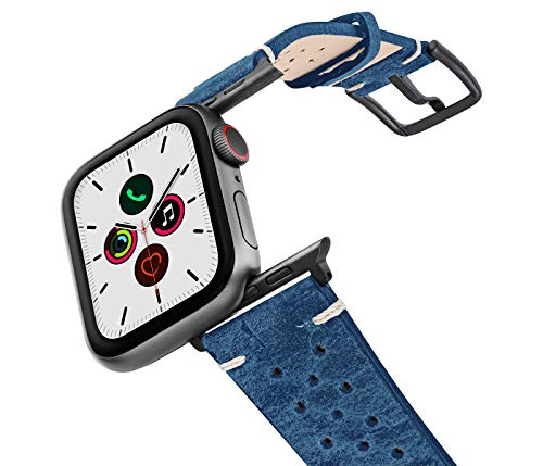 MERIDIO Breathe | Cinturino Compatibile con Apple Watch Series 6 & SE|5|4|3|2|1 in Pelle di Vitello avente 30 Fori sui Lati 100% Made in Italy | 42-44mm, Alluminio Grigio Scuro