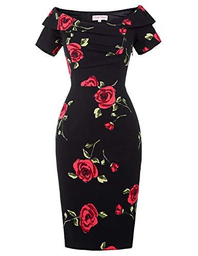 Belle Poque Kleider festlich Blumen Rockabilly Kleid Kurzarm ballkleid Partykleid M DEBP117-1