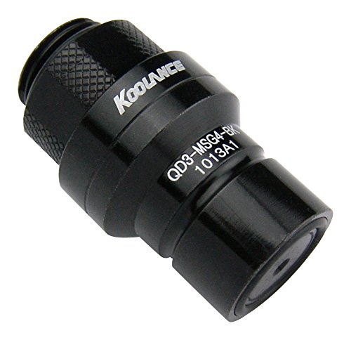 Koolance QD3-MSG4-BK QD3 Male Quick Disconnect No-Spill Coupling, Male Threaded G 1/4 BSPPBlack