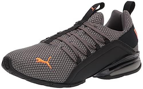 PUMA Men's Axelion Running Shoe, Castlerock-Vibrant Orange Black, 10