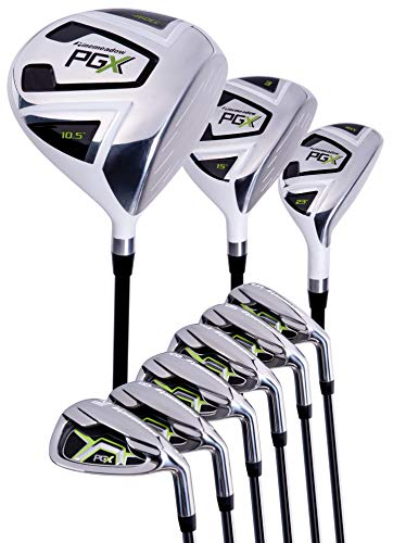 Pinemeadow Men's PGX Golf Set-Driver, 3 Wood, Hybrid, 5-PW Irons (Right Handed, Regular Flex)