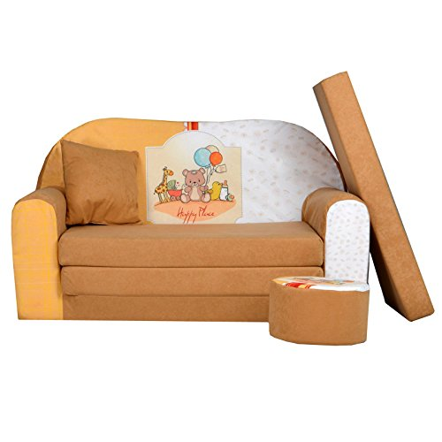 FORTISLINE Kindersofa Kindercouch Aufklappen Bettfunktion + Hocker W319 Viele Muster (Happy Place)