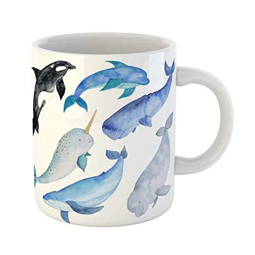 Taza De Té De Café Ballenas De Cerámica Animales Marinos Delfín Asesino De Narval Beluga Océano Azul Acuarela Compañeros De Trabajo Taza De Jefe