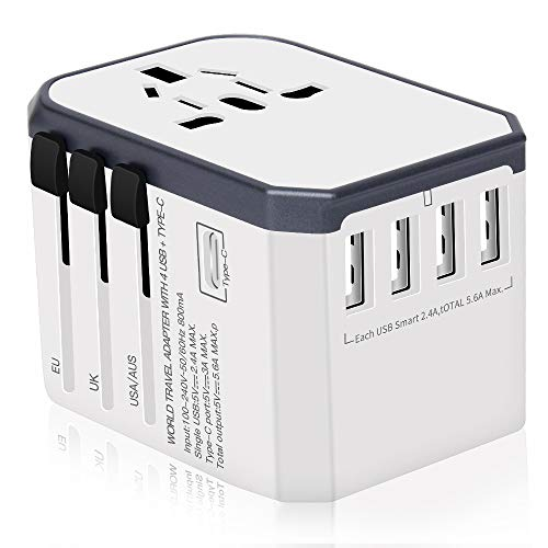 Reiseadapter Reisestecker Weltweit 224+ Ländern Universal Travel Adapter 4 USB +Type C + AC Aufladung International einsetzbar für Europa Deutschland UK Australien USA Asien Usw (Weiß)