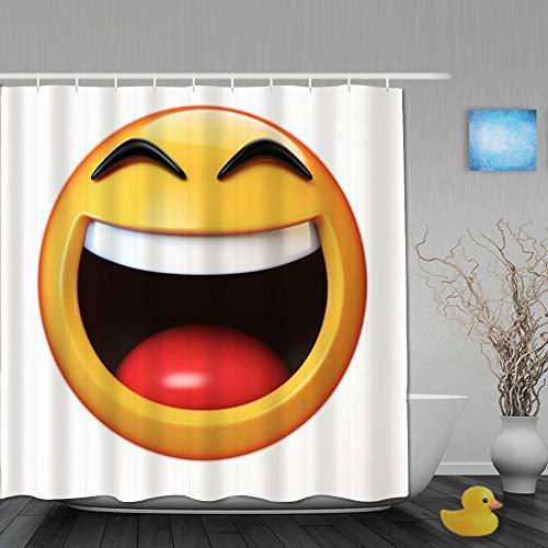 NISENASU Duschvorhang 180*180,Witz Charakter fröhlich Maskottchen Emoji isoliert auf weißen niedlichen Zeichen Symbole Mund abstraktes Lachen,Wasserabweisend Shower Curtain mit 12 Duschvorhangringen