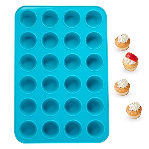 Silicone Mini Muffin Pan 24 Cups, Katbite Non-stick Cupcake Pan, Food Grade Cupcake Baking Pan, Reusable Mini Muffin Tin for Egg Muffin, Cheesecakes, Tart, Bread
