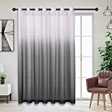Bermino Faux Linen Ombre Sheer Curtains - Extra Wide Gradient Voile Semi Curtains with 14 Grommets for Sliding Patio Window Door, 100W x 84L Inch Black, 1 Panel