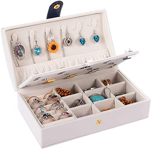 Portagioie da viaggio a doppio strato, portatile, organizer per orecchini, anelli, collane, regalo per donne e ragazze (arco bianco)