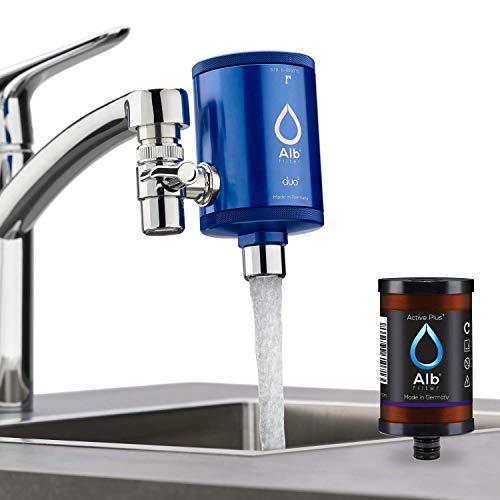 Alb Filter® Duo Active Plus+ Trinkwasserfilter | Armatur Anschluss | Filtert Bakterien, Schadstoffe, Chlor, Pestizide, Mikroplastik. | Set mit Gehäuse und Kartusche | Made in Germany Blau