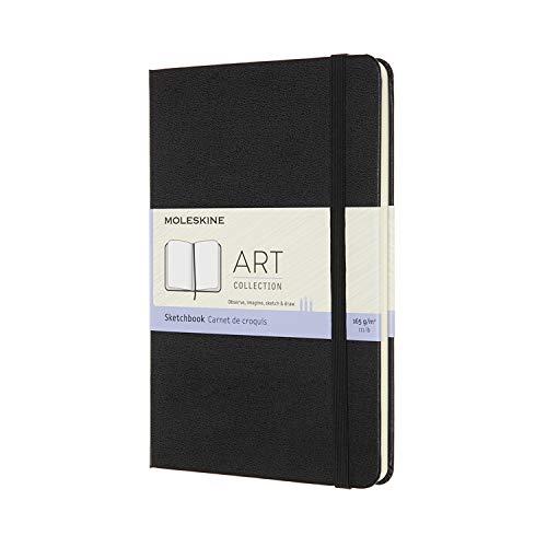 Moleskine - Art Sketchbook, Notizbuch zum Skizzieren und Zeichnen, Papier Geeignet für Stifte, Pastellfarben, Zeichenkohle, Stifte, Füllfederhalter ... Medium 11,5 x 18 cm, Farbe Schwarz, 88 Seiten