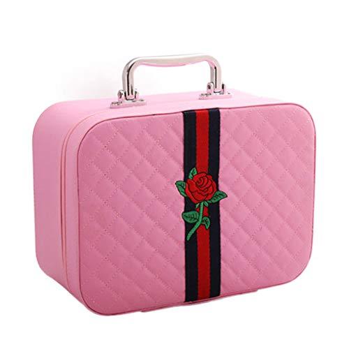 Sac cosmétique Voyage Portable Simple Grande capacité Produit Multi-Couche Fonction Boîte de Rangement (Motif de Fleurs) (Color : Pink, Taille : Small)