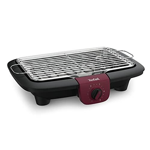 Tefal BG90E5 Easygrill Adjust Elektro- Tischgrill | 2300 Watt | 720 cm² Grillfläche | Einfache Reinigung | Schwarz/ Burgunderrot