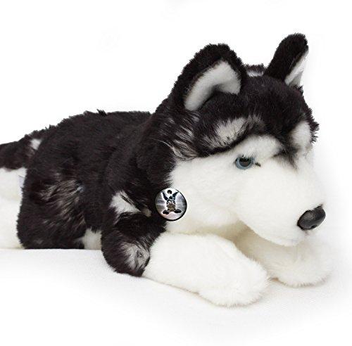 Husky NUGGET Schlittenhund schwarz-weiß liegend 40 cm Plüschtier von Kuscheltiere.biz