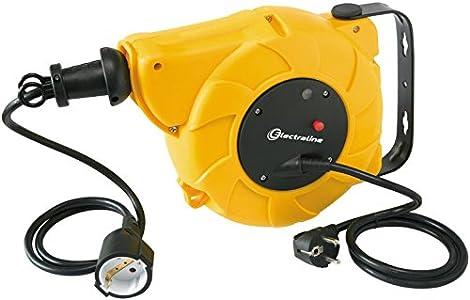 Electraline 100237 Enrollacables eléctrico automático a Resorte con alargador 250 V, Amarillo 15 m