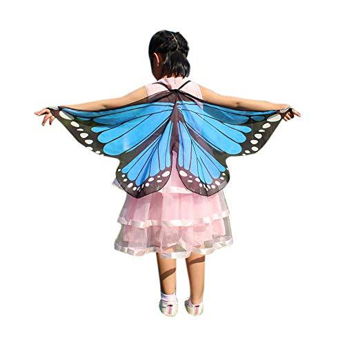 Vectry Halloween Cosplay Kind Kinder Jungen Mädchen Neuheit Feenhafte Nymphe Pixie Karneval Zubehör Weihnachten Kostüm Zusatz, Gedruckt Schmetterlings Flügel Butterfly Cape Schal Wrap Anzug für 3-13N