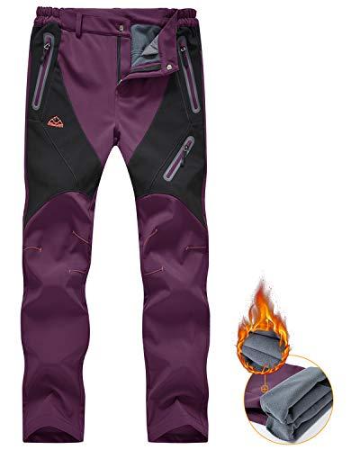 donhobo Pantalones impermeables para mujer con forro polar térmico y forro polar para invierno al aire libre y resistente al...