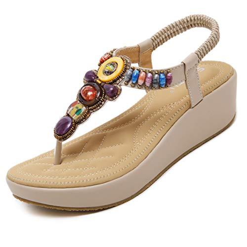 GEWEO Sandalia Bohemia con Cordones Verano Mujer Zapatos de Flip FlopsChancletas Tacón Alto Plataforma Suave de 5CM Calzado con Pulsera Beige Talla EU 36 (CN 37)