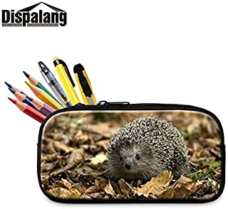 Gimax Cosmetic Bags & Cases - Dispalang Affordable Preppy Style Pen Case for Children Design Hedgehog Logo Pencil Pouch Bag with Zipper Girl's Cosmetic Cases - (Color: Ivory)
