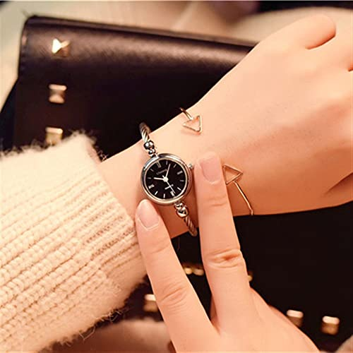 OWZSAN Mujeres Moda de Lujo Brazalete de Oro Brazalete Relojes de Mujer de Acero Inoxidable Retro Ladies Cuarzo Relojes de Pulsera Reloj Digital (tamaño : Silver Black)