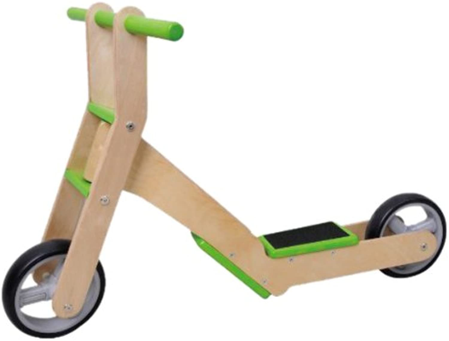 MaMaMeMo 2in1 Wooden Scooter  Balance Bike (Green)