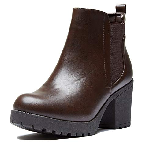 DailyShoes Tomb Raider Costume Boots Women's Chunky Ankle Bootie Chelsea Boots Casual Boot Block Heel Autumn Winter Stretch Shoes Platform Brown,pu,9