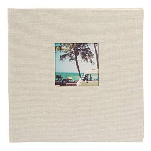 goldbuch 24823 Fotoalbum mit Fensterausschnitt, Bella Vista, Erinnerungsalbum 25 x 25 cm, Foto Album 60 weiße Seiten mit Pergamin-Trennblättern, Fotobuch aus Leinen, Sandgrau