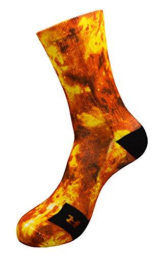 Energy Explosion Socken mit Eigenem Handgefertigte Motiv Design 3D Druck Socken für Basketball Fitness Volleyball Tennis Golf Ski Radfahren Atmungsaktiv Coolmax Sportsocken für Höhe Leistung (35-38)