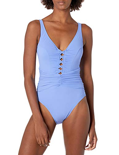 Profile by Gottex Women's Center Detail V-Neck One Piece Swimsuit, Date Night Lavender, 16