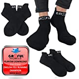 gr8ful® Ankle Socks for Men & Women | Black with white logo | Fab for any Sports or everyday use | Compression on Foot Arch | Plantar-Fasciitis support | Trainer Athletic Sock | 1 pair | One size
