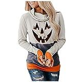 Sudadera con Capucha de Manga Larga con Estampado de Calabaza de Halloween para Mujer