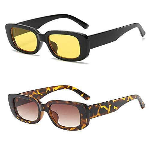 Grainas 2 paquetes de gafas de sol rectangulares retro para mujeres y hombres a la moda vintage marco cuadrado gafas UV 400 protección gafas de conducción (amarillo + leopardo)