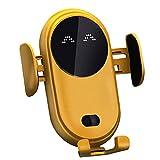 Liadance Sensor de Infrarrojos sin Hilos del Coche Cargador Móvil de Carga rápida con el sostenedor del Soporte Antideslizante automática telescópica Clip electrónica de teléfono Coche Amarillo