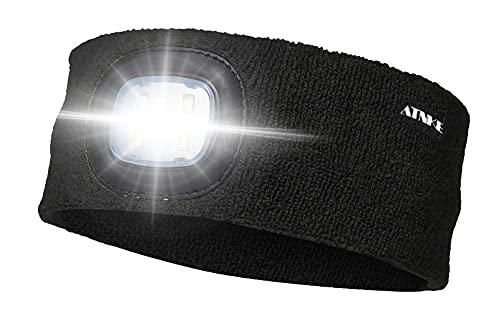 ATNKE LED beleuchtetes Stirnband, wiederaufladbarer USB-Laufhut 4 LED-Lampe mit wasserdichtem Licht und Blinkender Alarmscheinwerfer Hohe Stretch Multi-Color/Schwarz