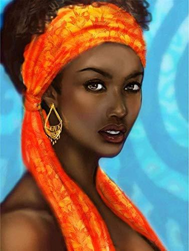 Punto de Cruz Kit adultosBordado-Mujer sombreros pendientes rojos ojos grandes -DIY Costura Preimpresa Principiantes Bordado Lona Creatividad Decoración regalo manualidades16x20pulgada