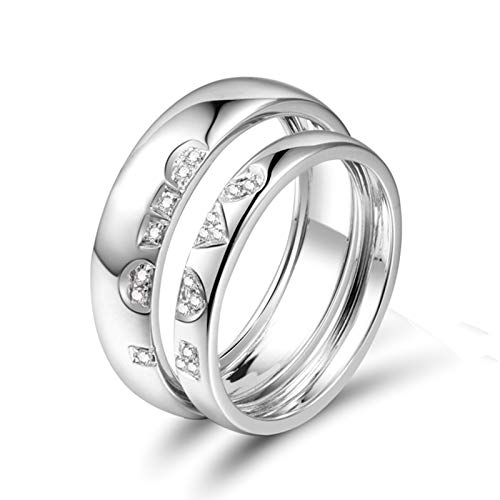 KnSam 18K White Gold Mens Ring Wedding, Puzzle Letters Love Round Cut F-G Diamond 0.034ct VS Silver Ring Size Z 1/2