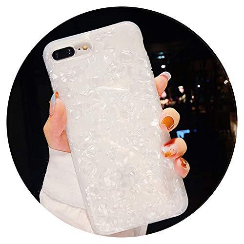 Fashion-Lover Funda para iPhone XS XR XS Max X 8 7 6 6S Plus con diseño de concha de purpurina de silicona TPU suave, color blanco, para iPhone XR