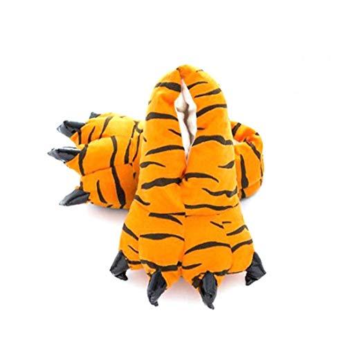 1 par Lindo de Zapatos Animales de la Pata de Pelo del Animal Relleno de la Felpa Suave Garra Inicio Zapatillas Disfraz de Animal Deslizadores de los Zapatos de los nios del tamao 30~34 Tigre