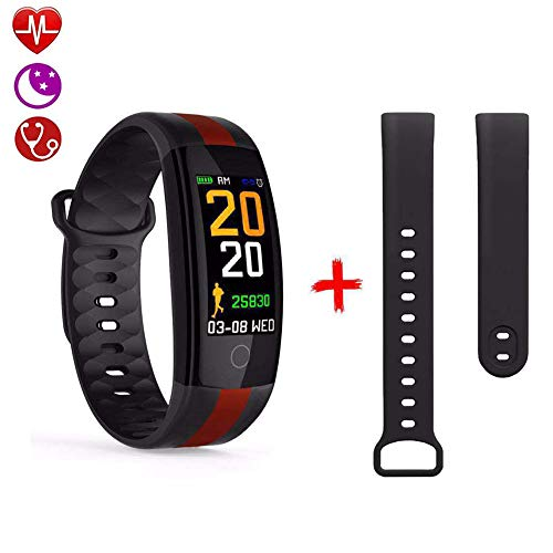Fitness Tracker, Activity Tracker Met Gratis Band Aangepast, Smart Watch Met Multi-Sportmodi Hartslag, Smart Watch Bluetooth-Stappenteller Voor Mannen, Vrouwen,Black
