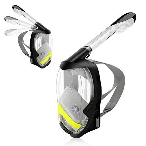 Stecto Neue Schnorchelmaske Vollmaske Faltbare 180 ° Panorama-Maske mit Kamerahalterung, Tauchmaske aus Silikon-Dry-Top-System für Kinder und Erwachsene
