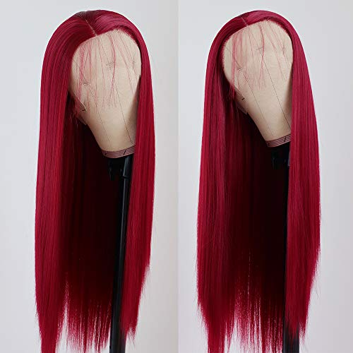 Lovestory Red Wigs For Women Heat Resistant Synthetic Lace Front Wigs Fashion Long Straight Wig 180 Density 22-24 inch