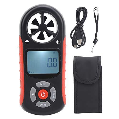 Fockety Anemómetro Digital, medidor de Velocidad del Viento de Mano LCD 8 en 1 con Prueba de Temperatura/Humedad/altitud del Aire, medidor de Velocidad del Viento con retroiluminación para Exteriores